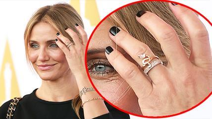 Камерон Диаз с помолвочным кольцом