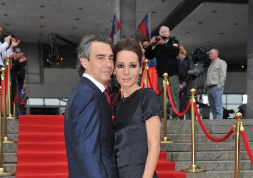 Дарья Златопольская с мужем Антоном Златопольским на вручении премий ТЭФИ в 2014 году