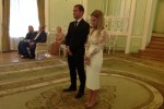 Фото Александра Кержакова и Миланы Тюльпановой во время регистрации брака