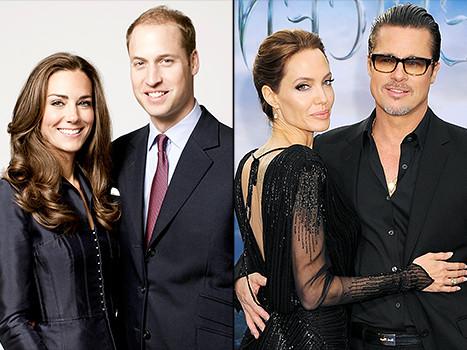 Анджелина Джоли и Брэд Питт встретились с принцем Уильямом и герцогиней Кейт