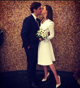 Мария Байбакова и Адриен Фор фото в день официального бракосочетания апрель 2015