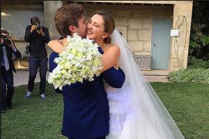 Фото Марии Байбаковой и Адриена Фора в день свадьбы 2015