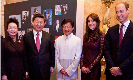 Фото Принца Уильяма и герцогини Кейт с лидером Китая Си Цзиньпином и его супругой, а также Джеки Чаном