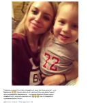 Пост Миланы Кержаковой с опровержением слухов о беременности. На фотоона видимо с сыном Кержакова Игорем