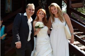 Фото Екатерины Жарковой с Леной Катиной, бывшей участницей тату и её мужем Сашо Кузмановичем