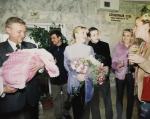 Екатерина Одинцова в день выписки из роддома с младшей дочерью Диной, фото 2002 года, Инстаграм