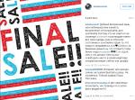 Пост Айзы Анохиной в Инстаграме о распродаже бывшей в употреблении одежды