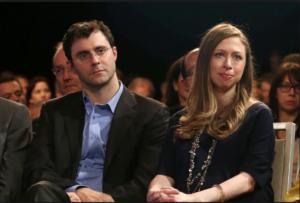 На фото Челси Клинтон с мужем Марком Мезвински