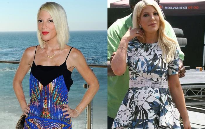 Фото Тори Спеллинг до увеличения веса (2015 год,слева) и после, в июне 2016 года
