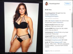 Пост Эшли Грэм в Инстаграме с фото комплекта белья из новой коллекции