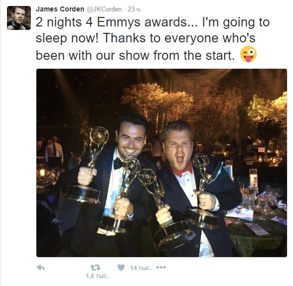 Пост с фото Джеймса Кордена в Твиттере после получения статуэток Эмми 2016