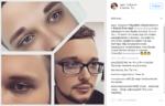 Пост Егора Халявина в Инстаграме о процедуре оформления бровей, фото