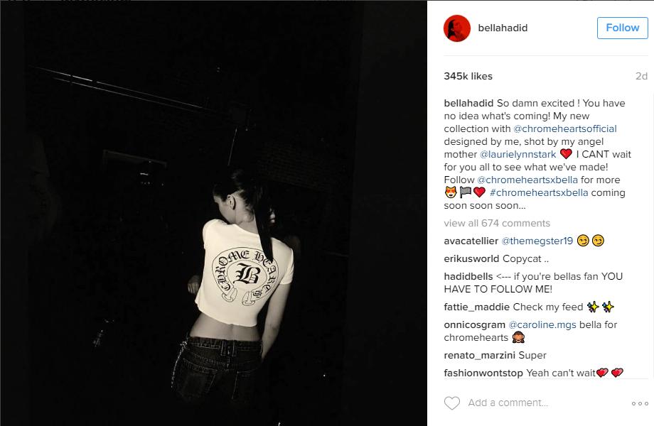 Пост Беллы Хадид в Инстаграме о запуске линии одежды, фото в футболке Chrome Hearts