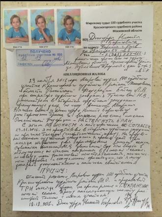 Фото апелляционной жалобы на решение суда о разводе Никиты Джигурды и Марины Анисиной