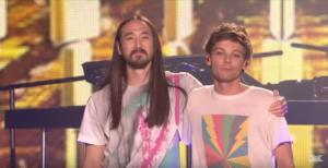 "Луи Томлинсон и Стив Аоки фото сцене программы ""X Factor"""