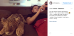 Пост Антона Гусева в Инстаграме и фото со львёнком