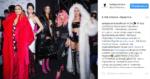 Пост Беллы Потемкиной в Инстаграме после показа на неделе моды Мерседес-Бенц 2017 в Москве. Белла Потемкина на фото в центре с розовыми волосами