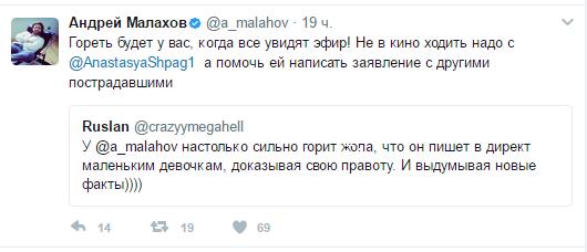 Переписка Малахова с фанатом Анастасии Шпагиной в Твиттере