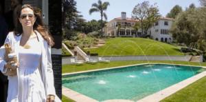 На фото Анджелина Джоли и бассейн около её нового дома в Лос-Анджелесе