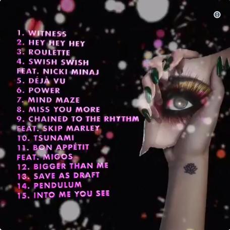 """Кэти Перри альбом 2017 """"Witness"""" список песен"""