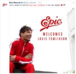 скрин поста Epic Records в Твиттере о подписании сольного контракта с Луи Томлинсоном